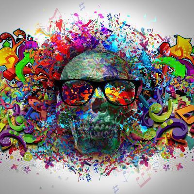 Skull in Glasses-reznik_val-Art Print