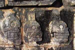 Skull Platform or Tzompantli, Bas Relief in Stone, Chichen Itza