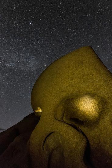 Skull Rock Lit Up at Night in Joshua Tree NP, California, USA-Chuck Haney-Photographic Print