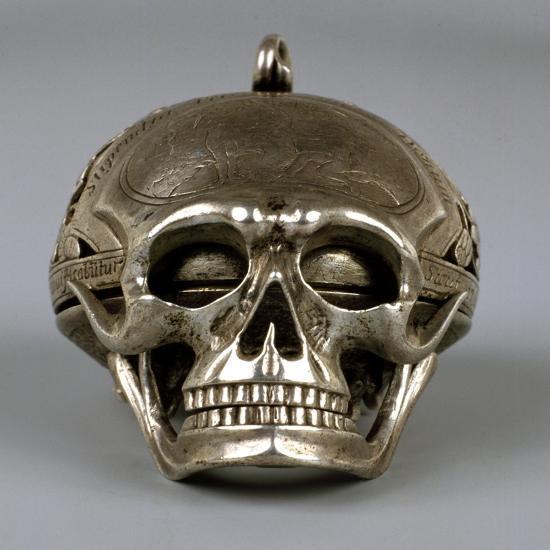 Skull-Shaped Clock, Silver and Gilt Brass, Geneva, Switzerland-Jean Sauve-Giclee Print
