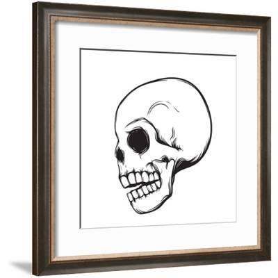 Skull, Side View, Isolated on White, Vector Illustration- nexusby-Framed Premium Giclee Print