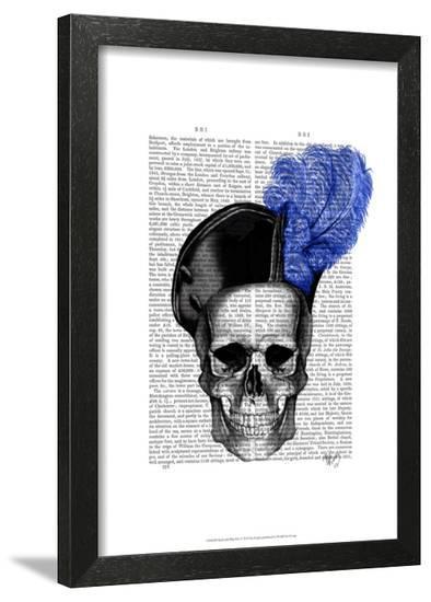 Skull with Blue Hat-Fab Funky-Framed Art Print