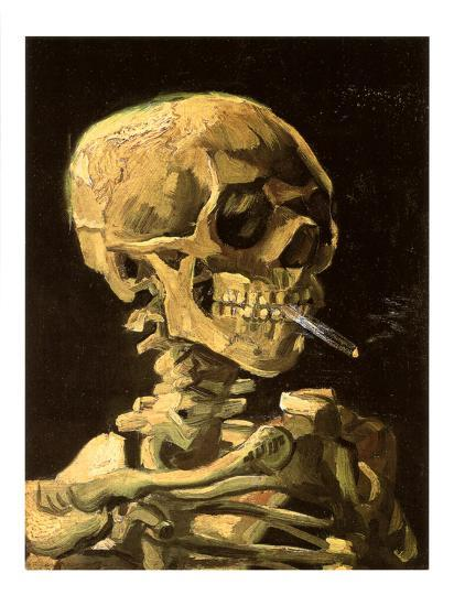 7ef7c93c3ec Skull with Burning Cigarette Art Print by Vincent van Gogh