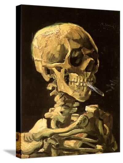 Skull with Burning Cigarette-Vincent van Gogh-Stretched Canvas Print