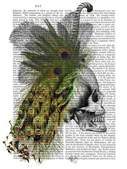 Skull With Feather Headress-Fab Funky-Art Print
