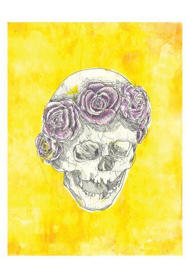 Skull with Rose Crown-Justine Bassani-Art Print