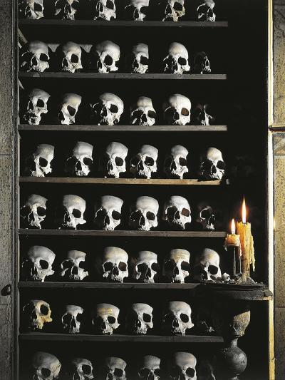 Skulls, Crypt Detail, Church of St. Mary of Prayer and Death, Rome, Italy--Giclee Print