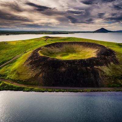 Skutustadagigar pseudo craters, Lake Myvatn, Northern Iceland. Drone photography