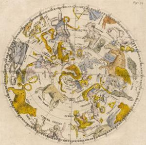 Sky Chart Showing the Signs of the Zodiac and Other Celestial Features