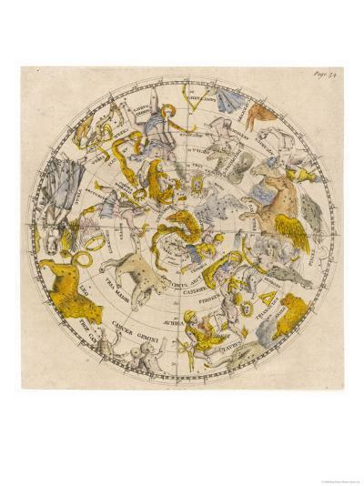 Sky Chart Showing the Signs of the Zodiac and Other Celestial Features--Giclee Print
