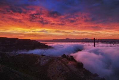 Sky Fire Fog Mood Golden Gate Bridge, San Francisco California Travel-Vincent James-Photographic Print