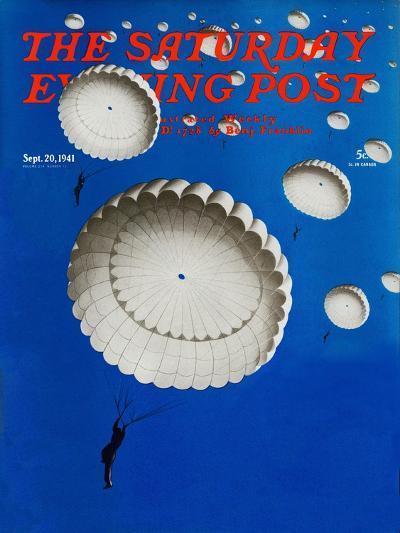 """Sky Full of White Parachutes,"" Saturday Evening Post Cover, September 20, 1941-Arthur C^ Radebaugh-Giclee Print"