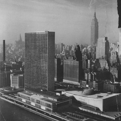 Sky Shot of the Un Headquaters and the Empire State Building-Dmitri Kessel-Photographic Print