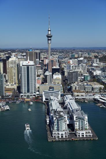 Sky Tower and Auckland Waterfront, Auckland, North Island, New Zealand-David Wall-Photographic Print