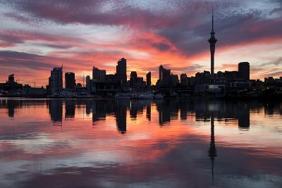 Sky Tower and City at Dawn from Westhaven Marina, Auckland, North Island, New Zealand, Pacific-Stuart-Photographic Print