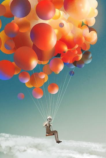 Sky Traveller,Man Floating with Colorful Balloons in a Sky,Illustraion Digital Painting-Tithi Luadthong-Art Print