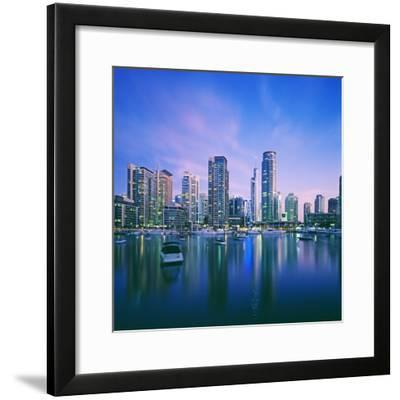 Skyline and boats on Dubai Marina-Murat Taner-Framed Photographic Print