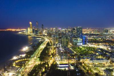 Skyline and Corniche, Al Markaziyah District by Night, Abu Dhabi, United Arab Emirates, Middle East-Fraser Hall-Photographic Print