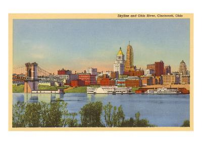 Skyline and Ohio River, Cincinnati, Ohio--Art Print