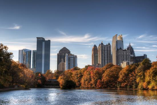 Skyline and Reflections of Midtown Atlanta, Georgia in Lake Meer from Piedmont Park.-SeanPavonePhoto-Photographic Print