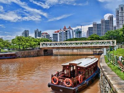 Skyline and Tug Boats on River, Singapore-Bill Bachmann-Photographic Print
