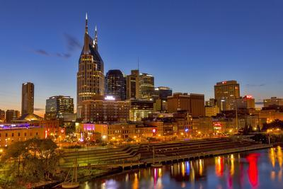 Skyline at Dusk over the Cumberland River in Nashville Tennessee-Chuck Haney-Photographic Print