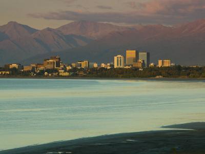 Skyline at Sunset from Point Woronzoff, Anchorage, Alaska-Walter Bibikow-Photographic Print
