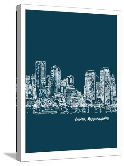 Skyline Boston 3-Brooke Witt-Stretched Canvas Print