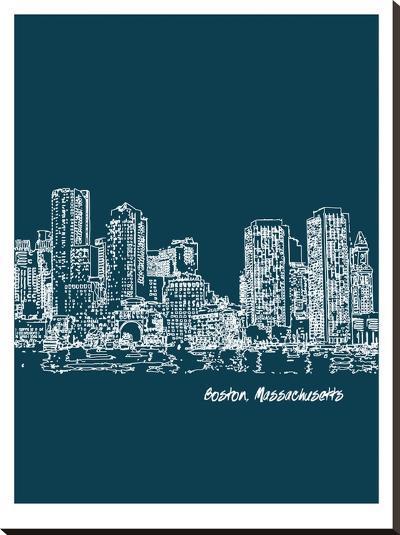 Skyline Boston 3-Brooke Witt-Stretched Canvas Print