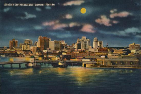 'Skyline by Moonlight, Tampa, Florida', c1940s-Unknown-Giclee Print