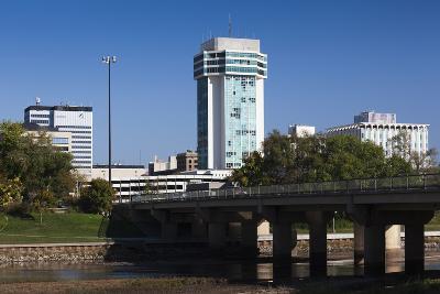 Skyline by the Arkansas River, Wichita, Kansas, USA-Walter Bibikow-Photographic Print