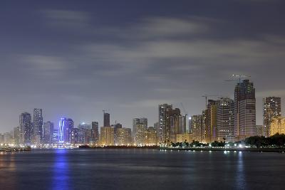 Skyline, Corniche Street, Emirate of Sharjah, United Arab Emirates, Arabian Peninsula-Axel Schmies-Photographic Print