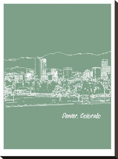 Skyline Denver 6-Brooke Witt-Stretched Canvas Print