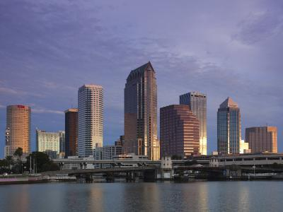 Skyline From Hillsborough Bay, Tampa, Florida, USA-Walter Bibikow-Photographic Print