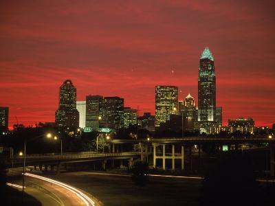 Skyline & Highway at Night, Charlotte, NC-Jim McGuire-Photographic Print