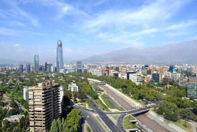 Skyline of Downtown Santiago, the Capital of Chile, Featuring 300-Meter High Gran Torre Santiago, T-1photo-Photographic Print