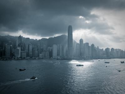 Skyline of Hong Kong Island Viewed across Victoria Harbour, Hong Kong, China-Jon Arnold-Photographic Print
