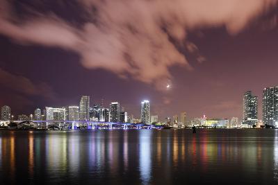 Skyline of Miami Downtown, Miami, Port Boulevard Bridge, Night, Florida, Usa-Axel Schmies-Photographic Print