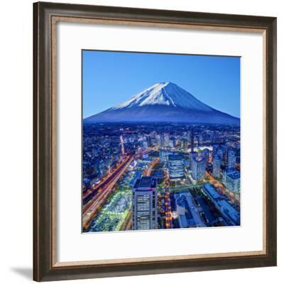 Skyline of Mt. Fuji and Yokohama, Japan.-SeanPavonePhoto-Framed Photographic Print