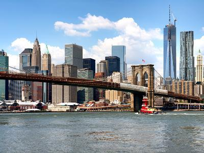 Skyline of NYC with One World Trade Center and East River, Manhattan and Brooklyn Bridge, US-Philippe Hugonnard-Photographic Print
