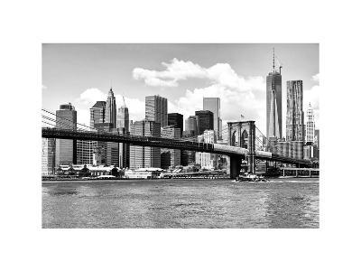Skyline of NYC with One World Trade Center and East River, Manhattan and Brooklyn Bridge-Philippe Hugonnard-Photographic Print