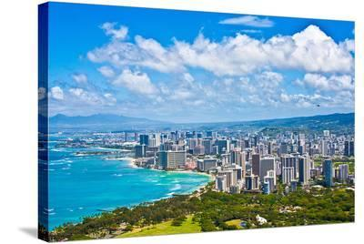 Skyline of Oahu Hawaii--Stretched Canvas Print