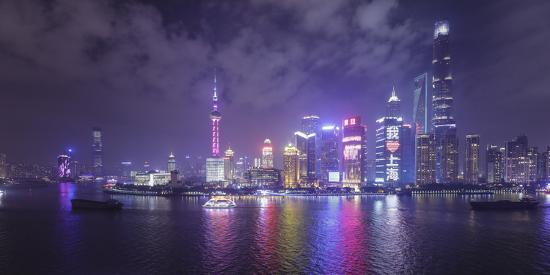 Skyline of Pudong from The Bund, Shanghai, China-Jon Arnold-Photographic Print