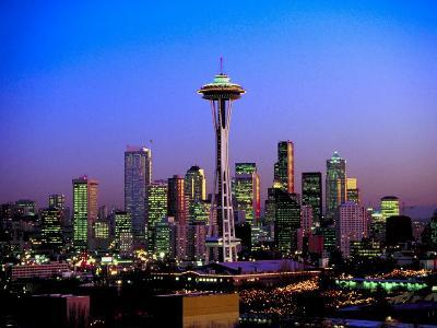 Skyline of Seattle at Dusk--Photographic Print