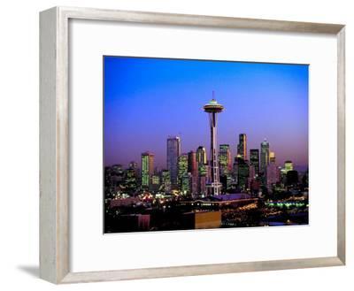 Skyline of Seattle at Dusk--Framed Photographic Print