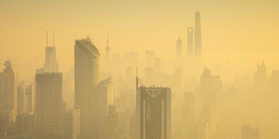 Skyline of Shanghai from Jing'An on a foggy November morning, China-Jon Arnold-Photographic Print