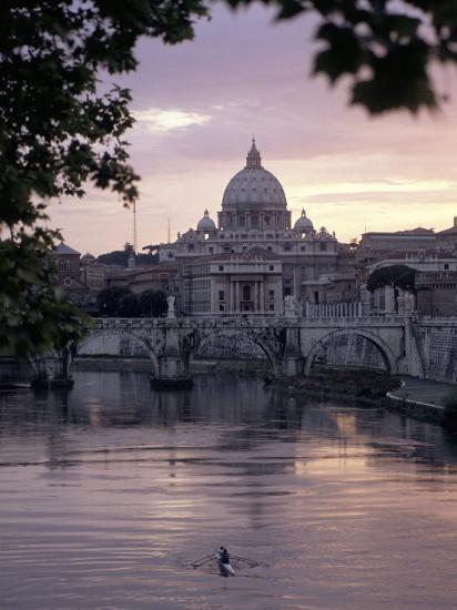 Skyline of St. Peter's from Ponte Umberto, Rome, Lazio, Italy-Adam Woolfitt-Photographic Print