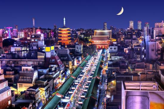 Skyline of the Asakusa District in Tokyo, Japan with Famed Temples.-SeanPavonePhoto-Photographic Print