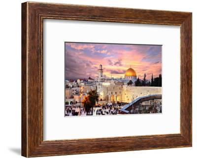 Skyline of the Old City at He Western Wall and Temple Mount in Jerusalem, Israel.-SeanPavonePhoto-Framed Photographic Print