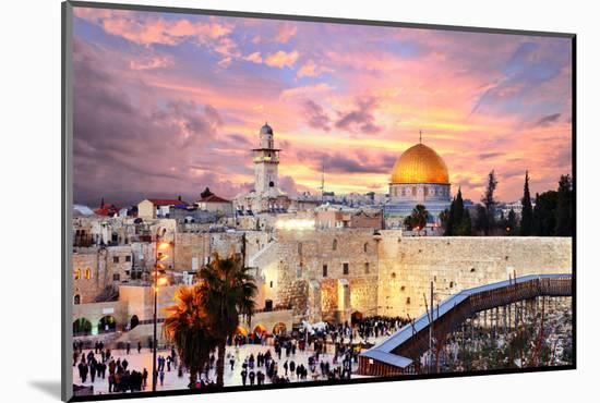 Skyline of the Old City at He Western Wall and Temple Mount in Jerusalem, Israel.-SeanPavonePhoto-Mounted Photographic Print